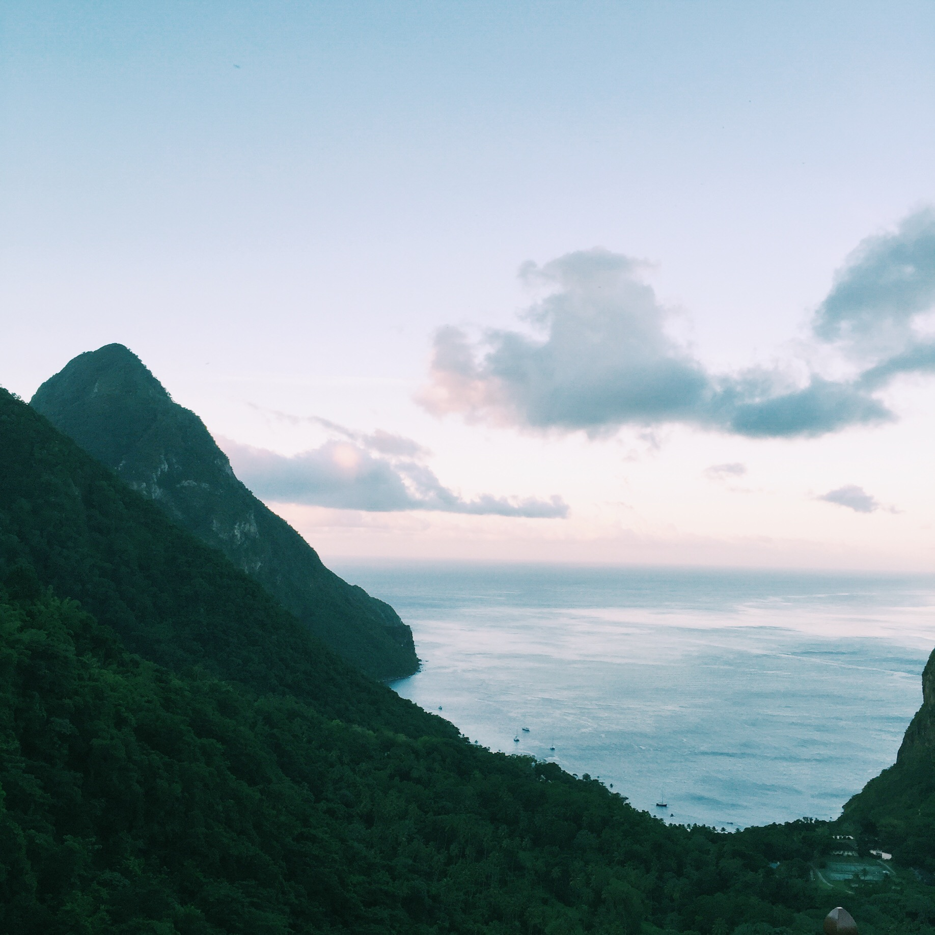 A gorgeous view of the gros piton and Caribbean sea on our honeymoon in St. Lucia