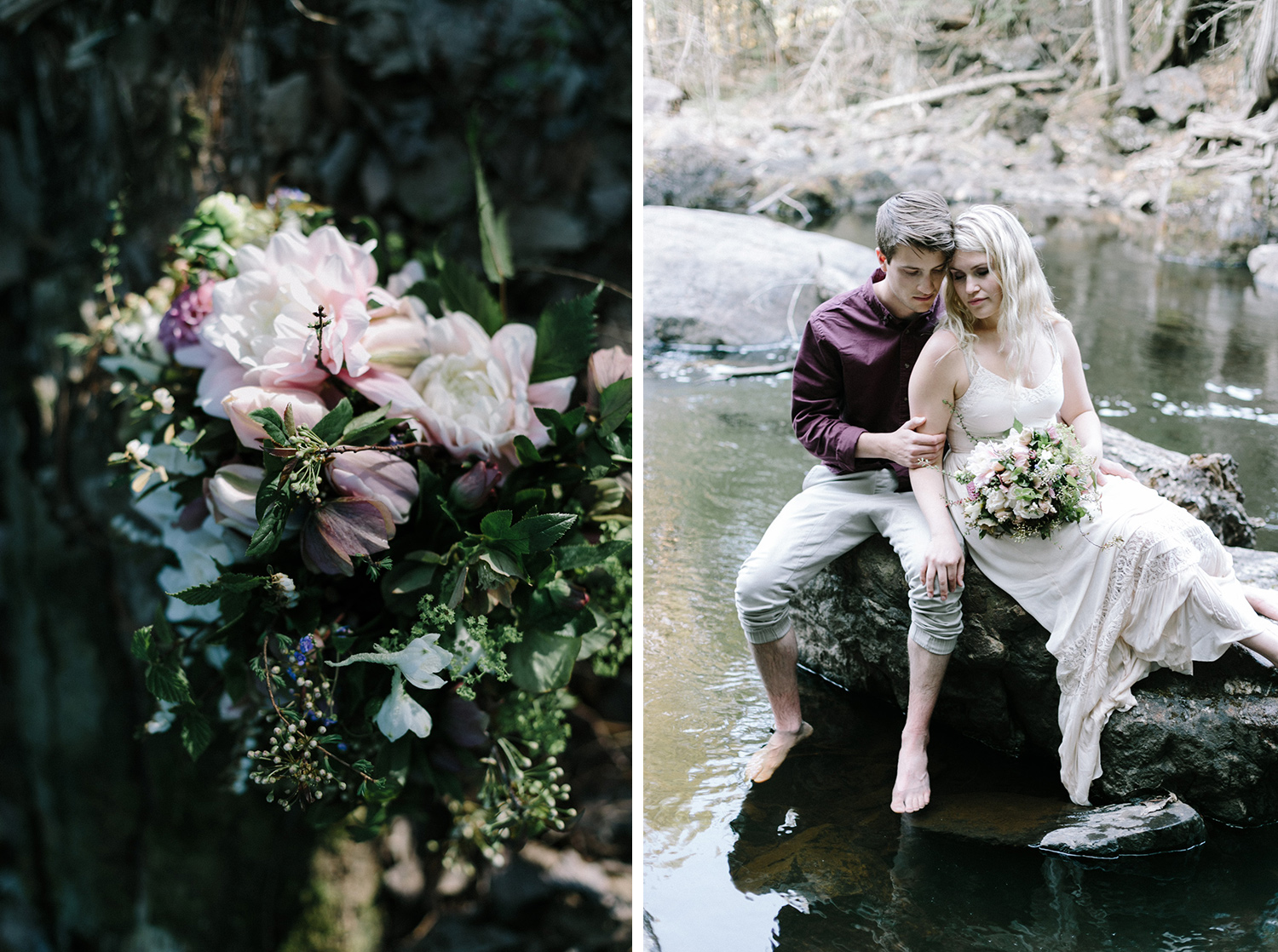 A beautiful couple sits on a rock together with a beautiful bouquet at their Marquette, U.P. photography session