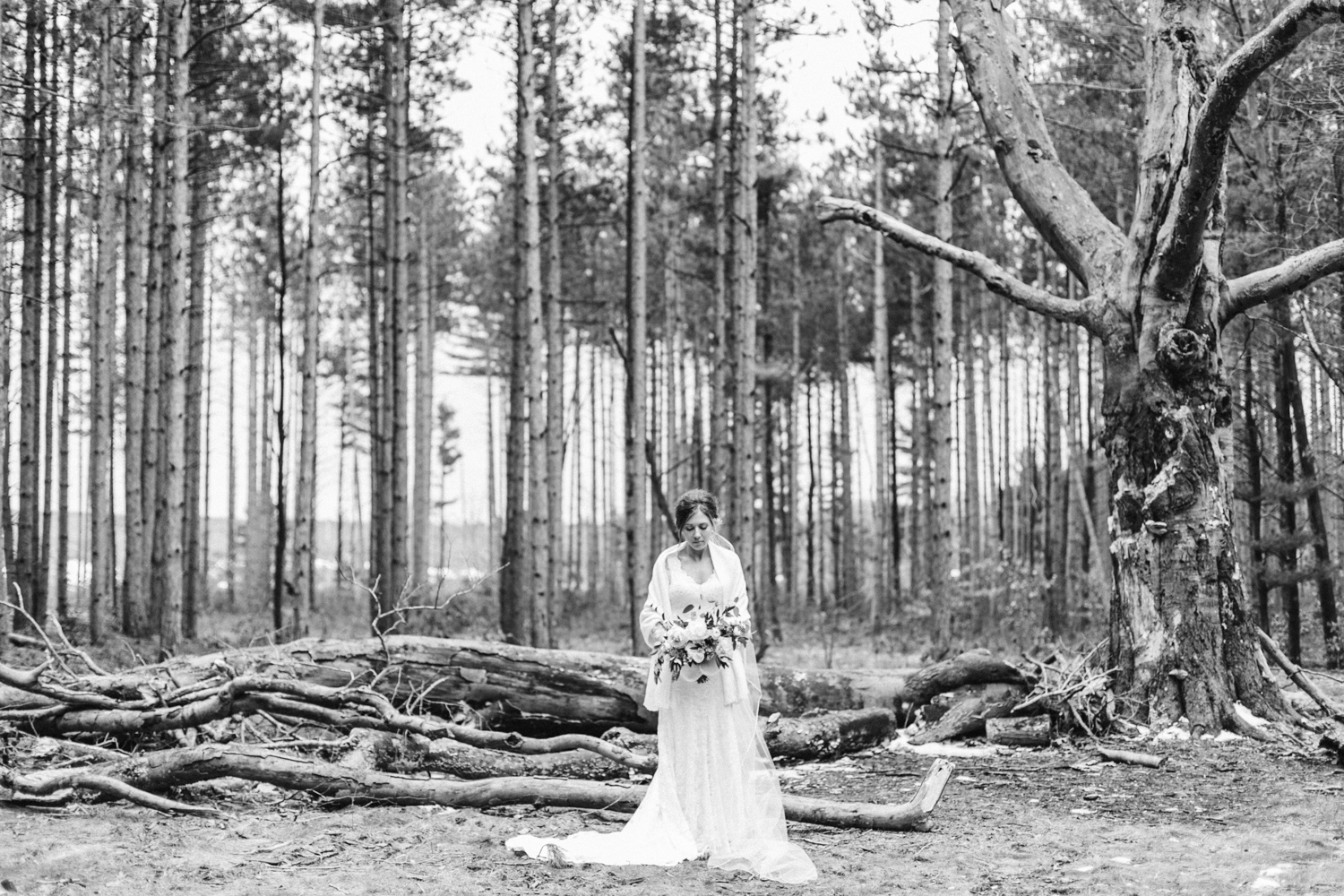 A bride stands with her bouquet in the woods at her Holland, Michigan wedding