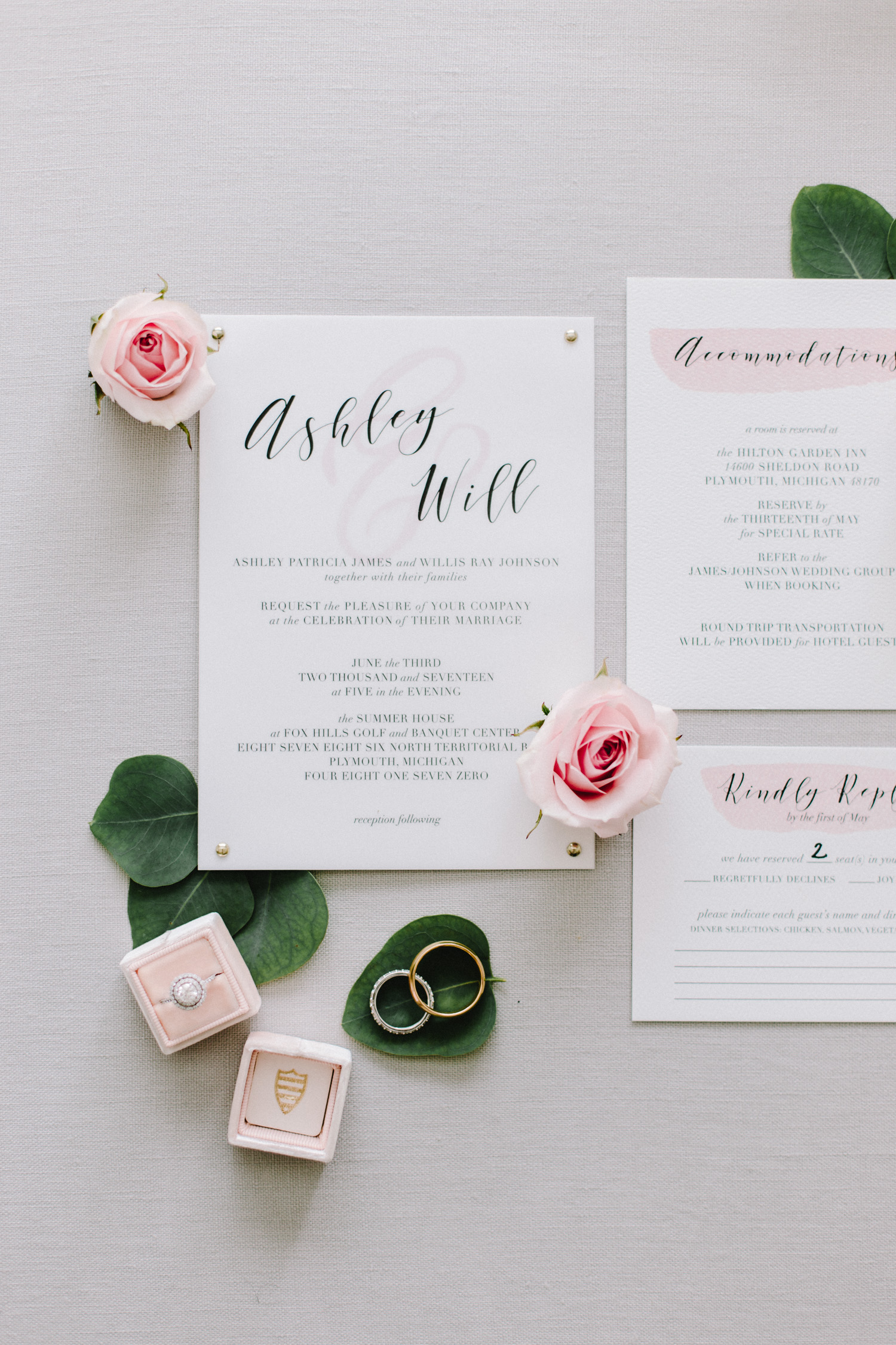 Beautiful white and blush calligraphy invitations for a summer wedding at Fox Hills