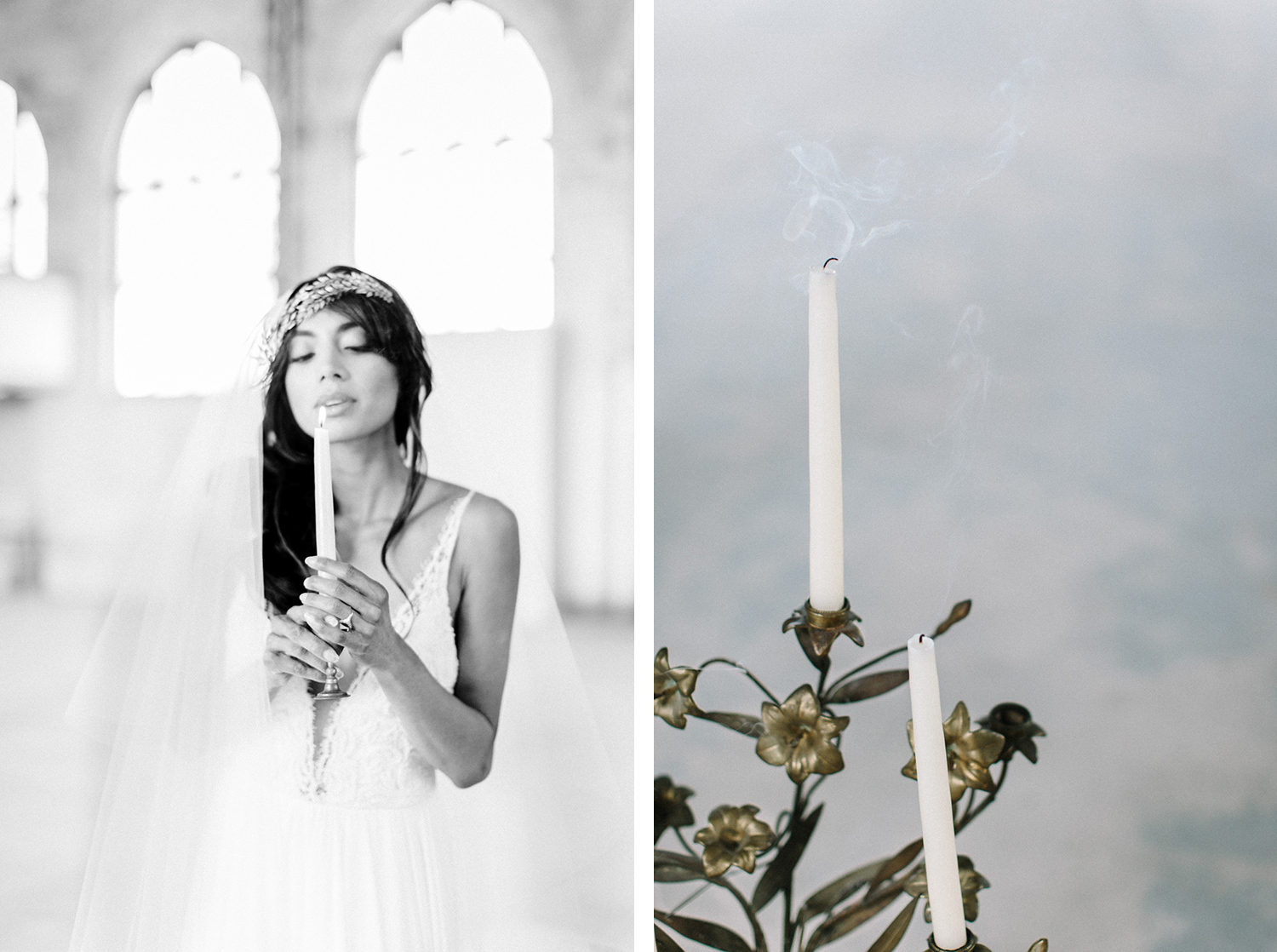 A bride blows out a candle at a destination wedding