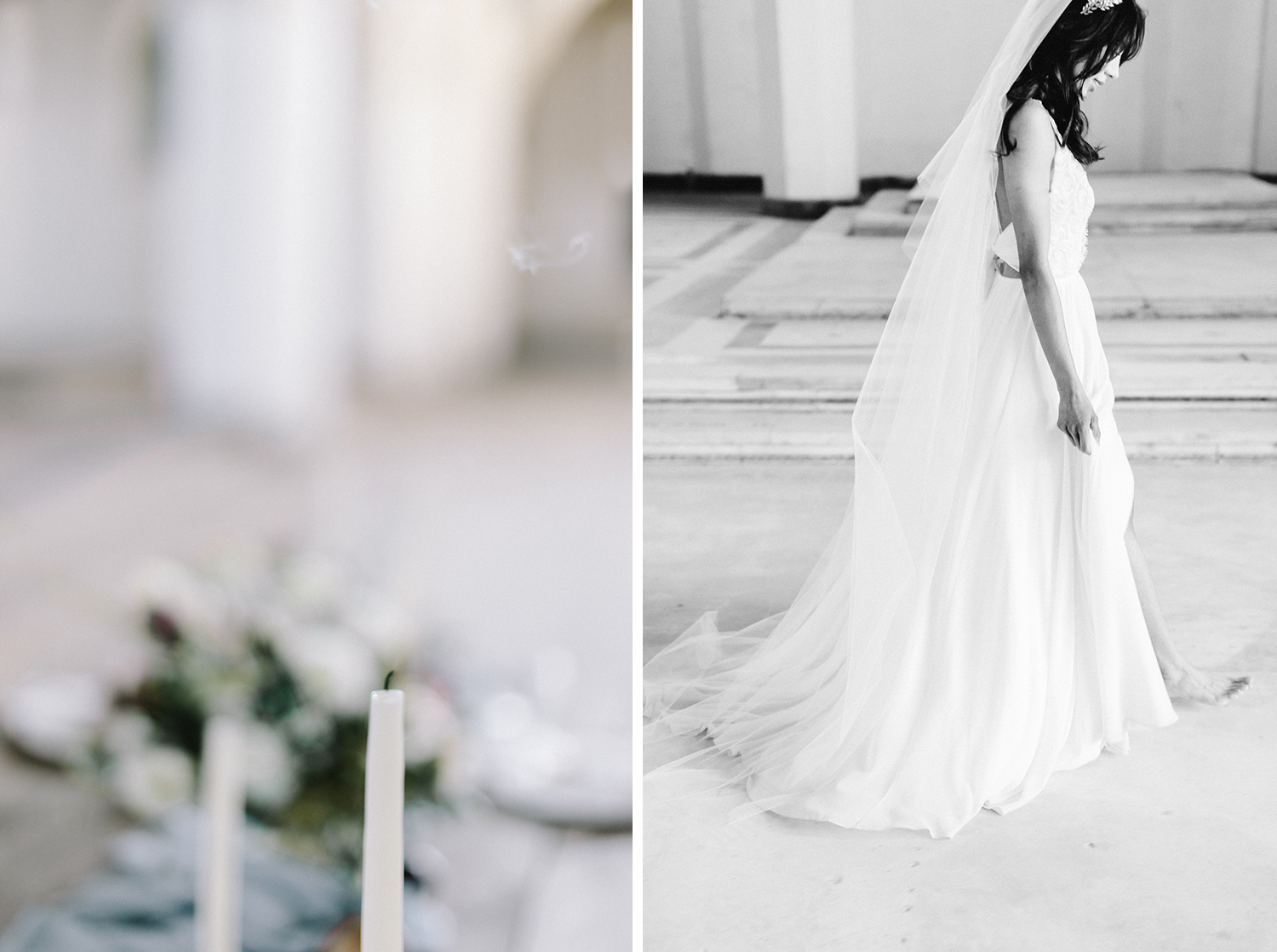 A bride in a long veil walks across the abandoned cathedral location of her destination wedding