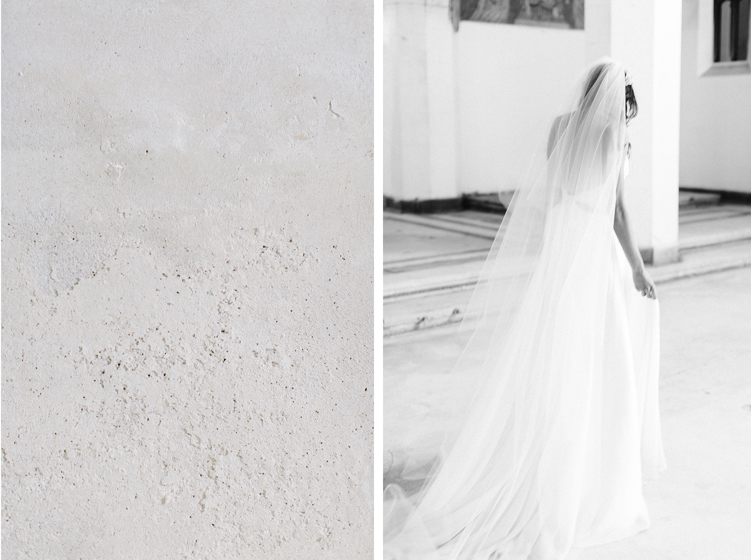 A bride in a long veil walks away at her beautiful destination wedding in an abandoned cathedral