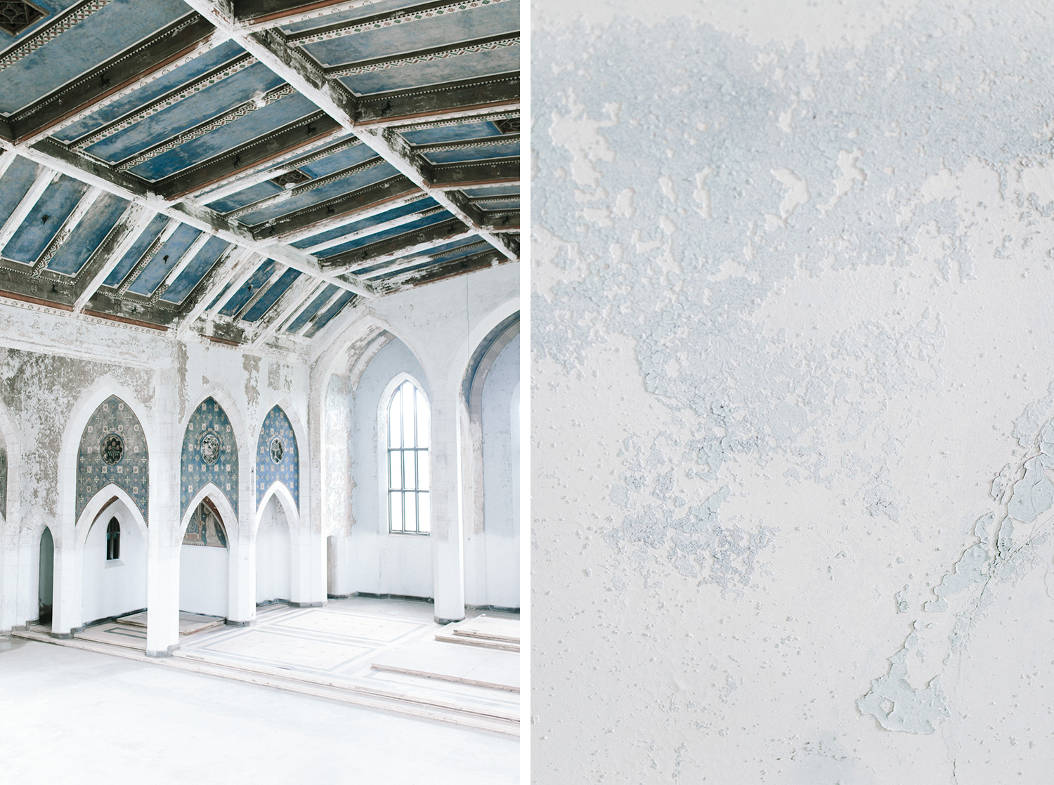 A beautiful white abandoned cathedral with blue accents, a unique destination wedding location in Michigan