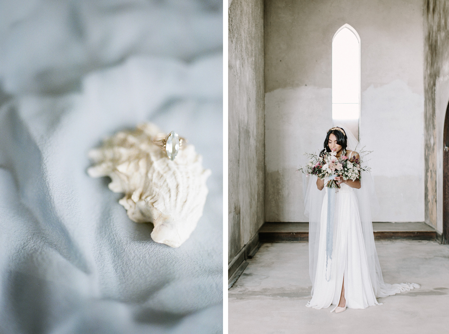 A photo of an antique gold and aquamarine engagement ring resting on a seashell, next to a photo of a beautiful bride at a destination wedding