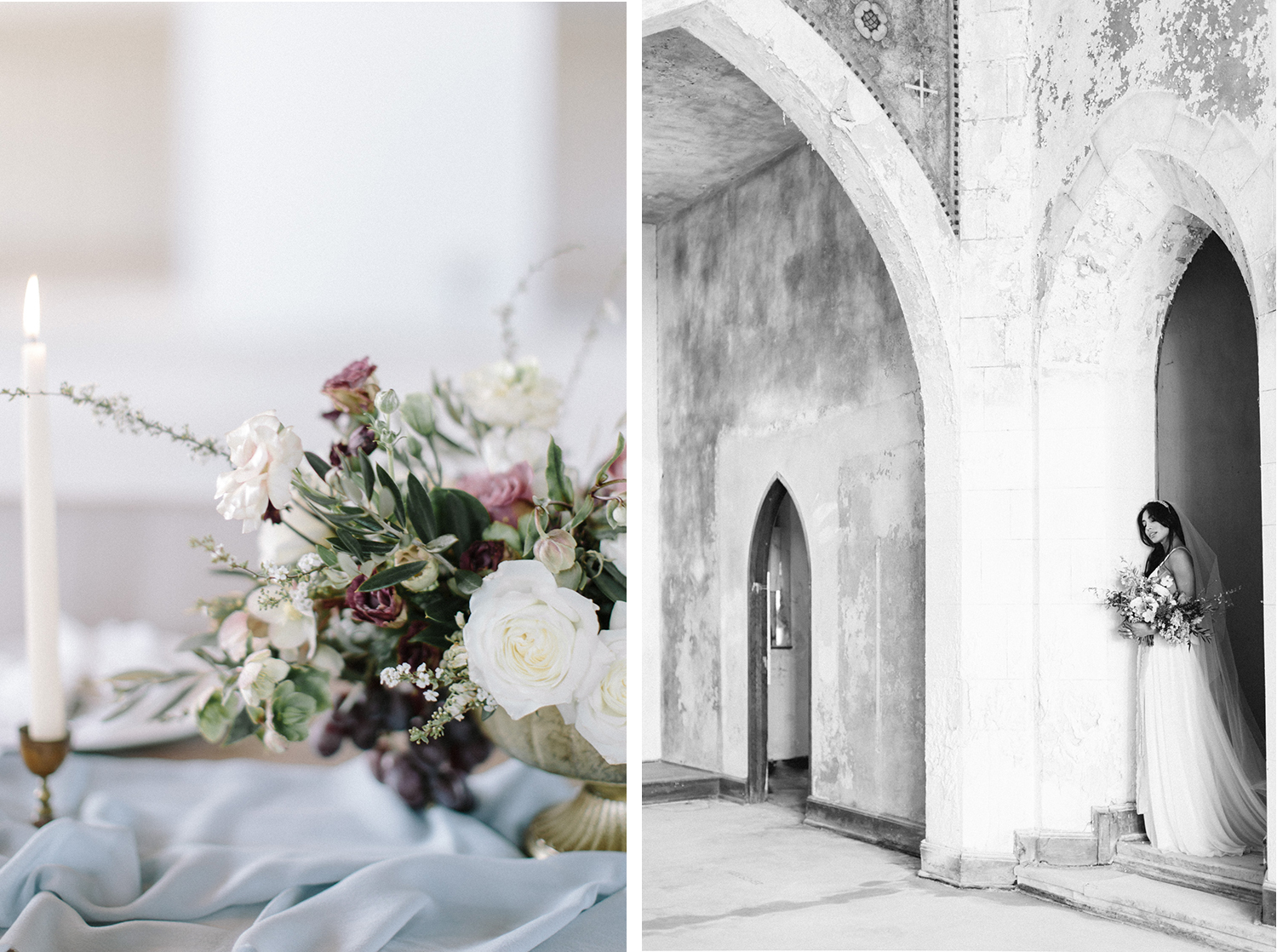 Weathered walls and a beautiful floral centerpiece at a destination wedding