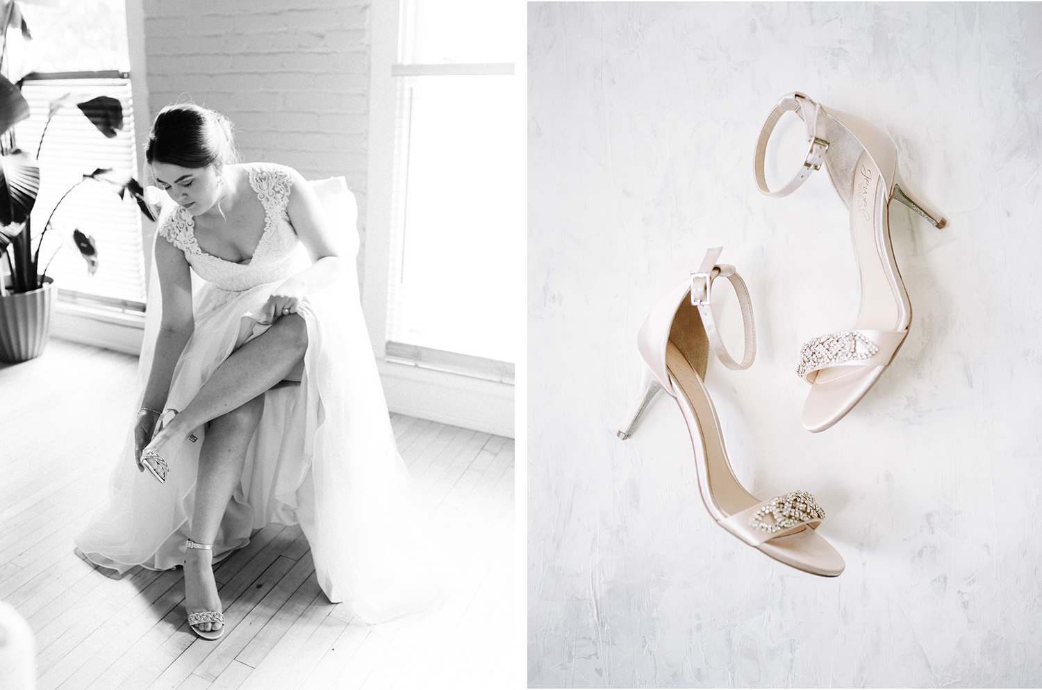 a bride sits to put on her beautiful champagne wedding shoes in Kalamazoo, Michigan