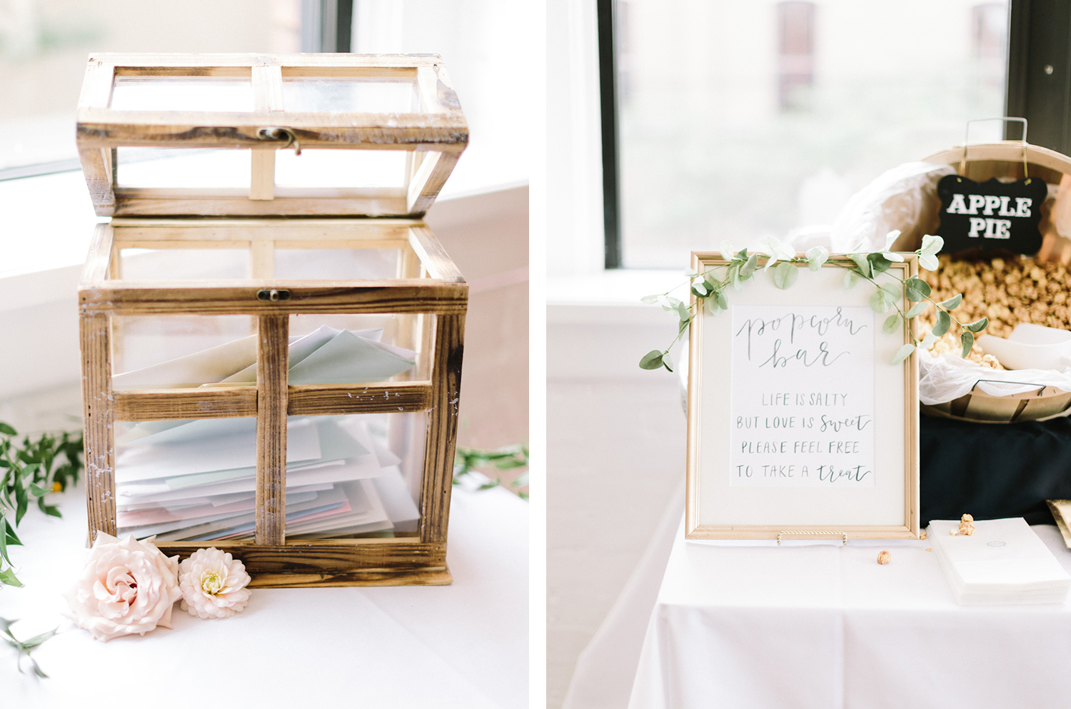Wedding reception decor featuring a glass card box and a popcorn bar at Loft 310