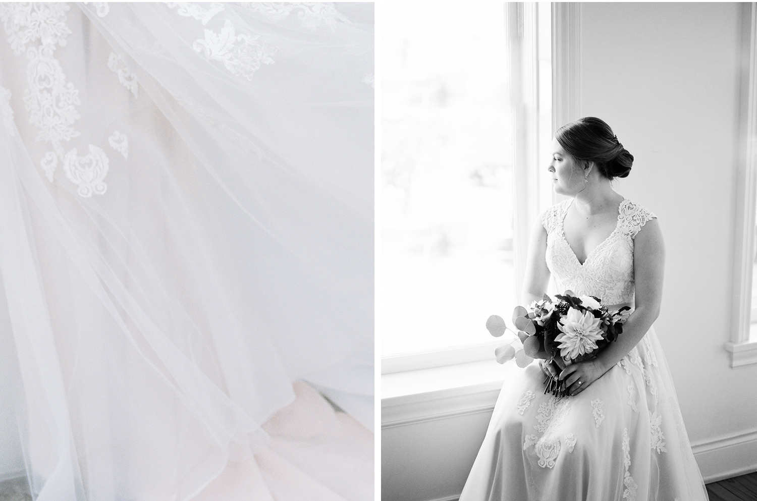 A black & white photo of a bride looking out a window before her Loft 310 wedding