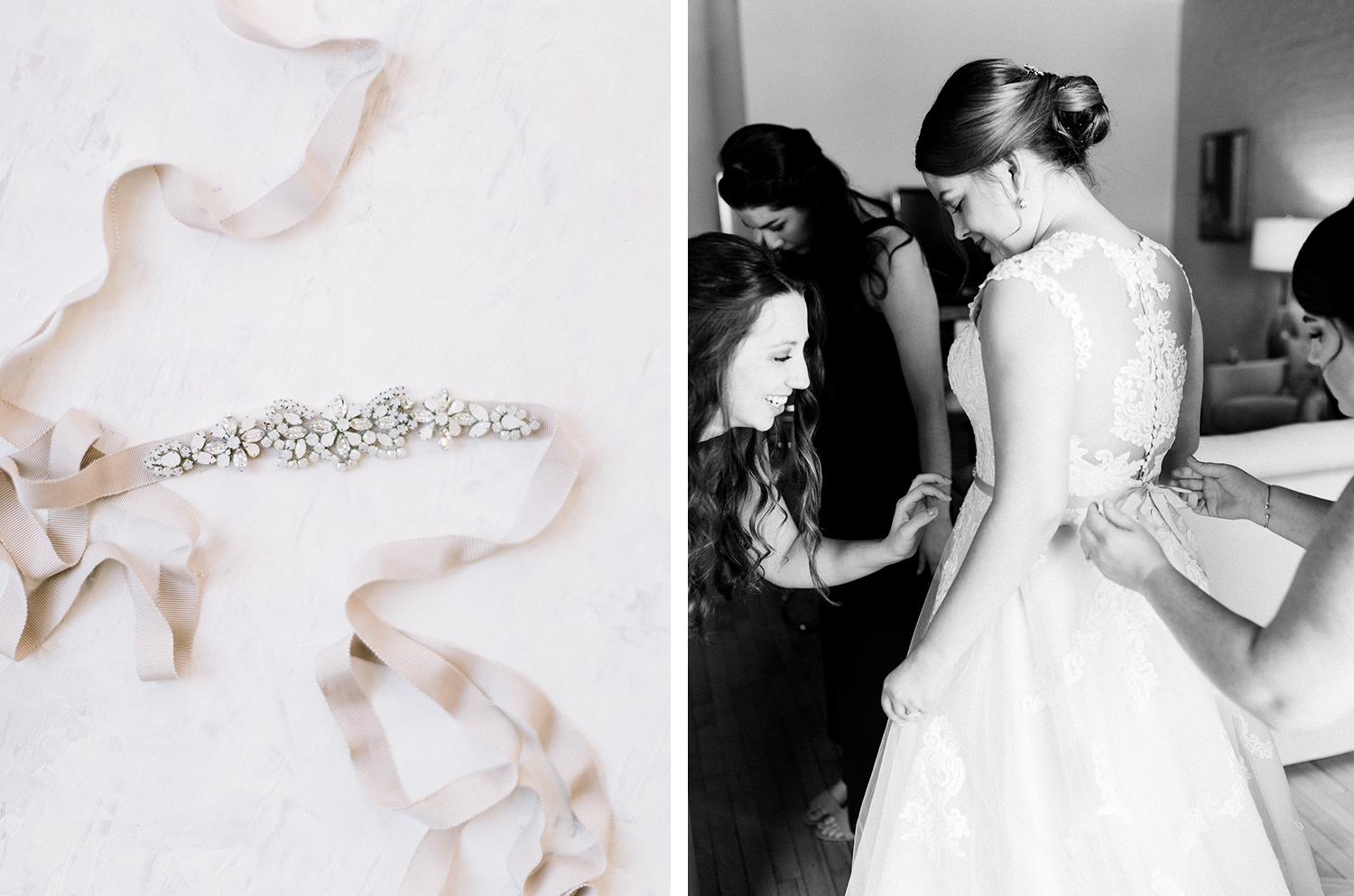 bridesmaids help tie a bride's beautiful sparkly belt at Loft 310
