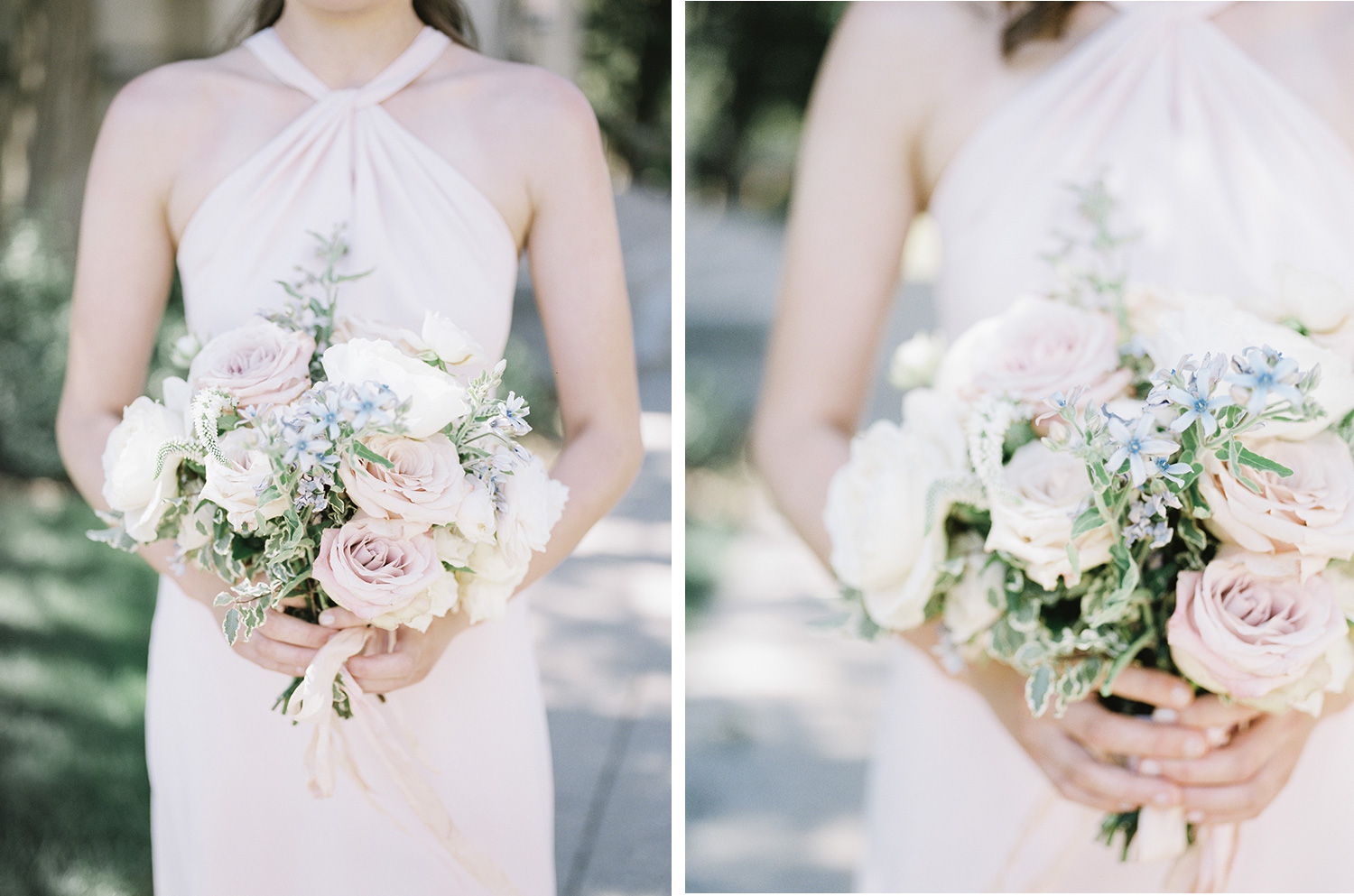 A bridesmaid in a blush dress holds a lush bouquet with pink garden roses, white ranunculus, and blue flowers in Ann Arbor