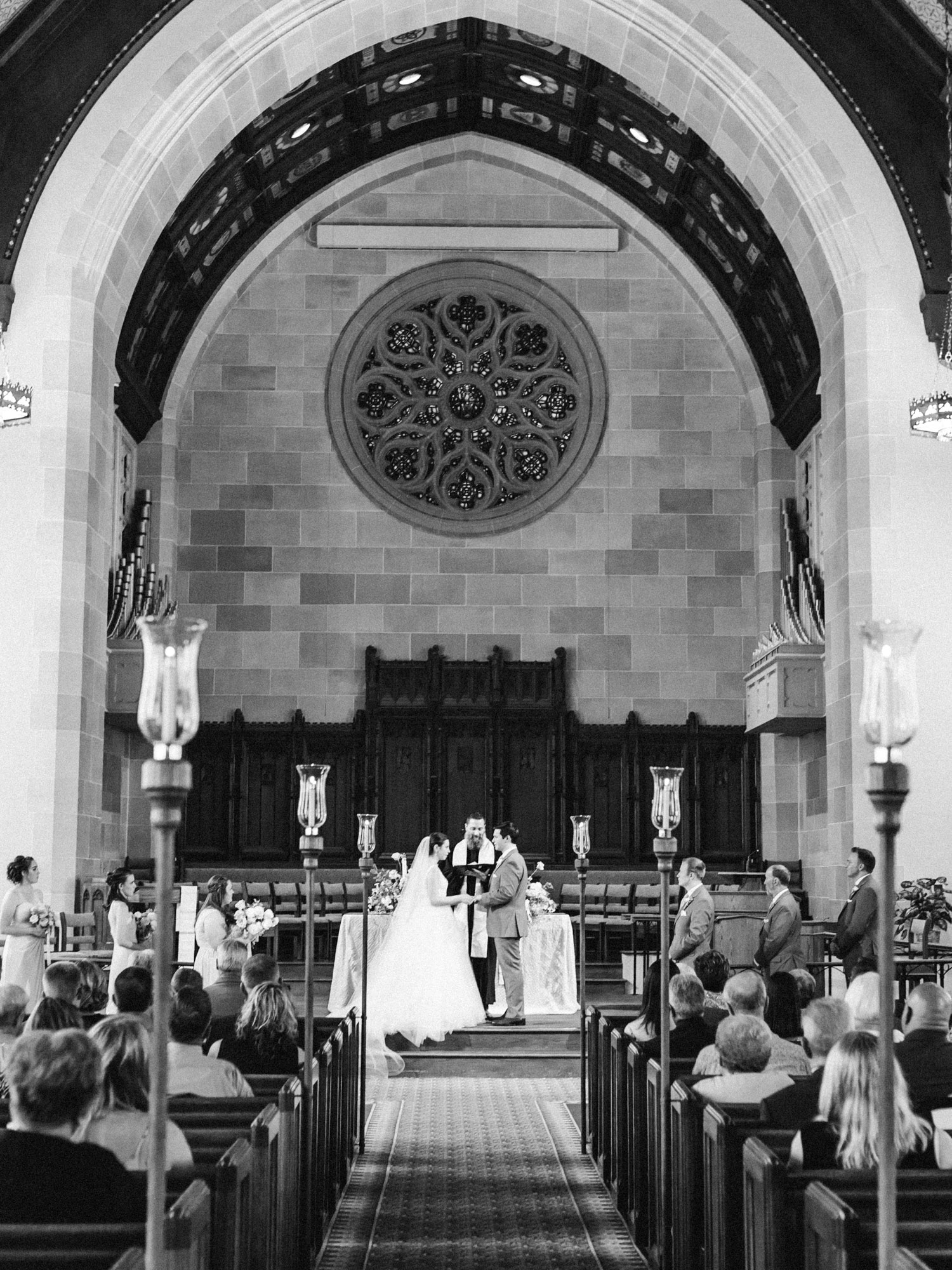 A couple weds in a beautiful church in Ann Arbor, Michigan