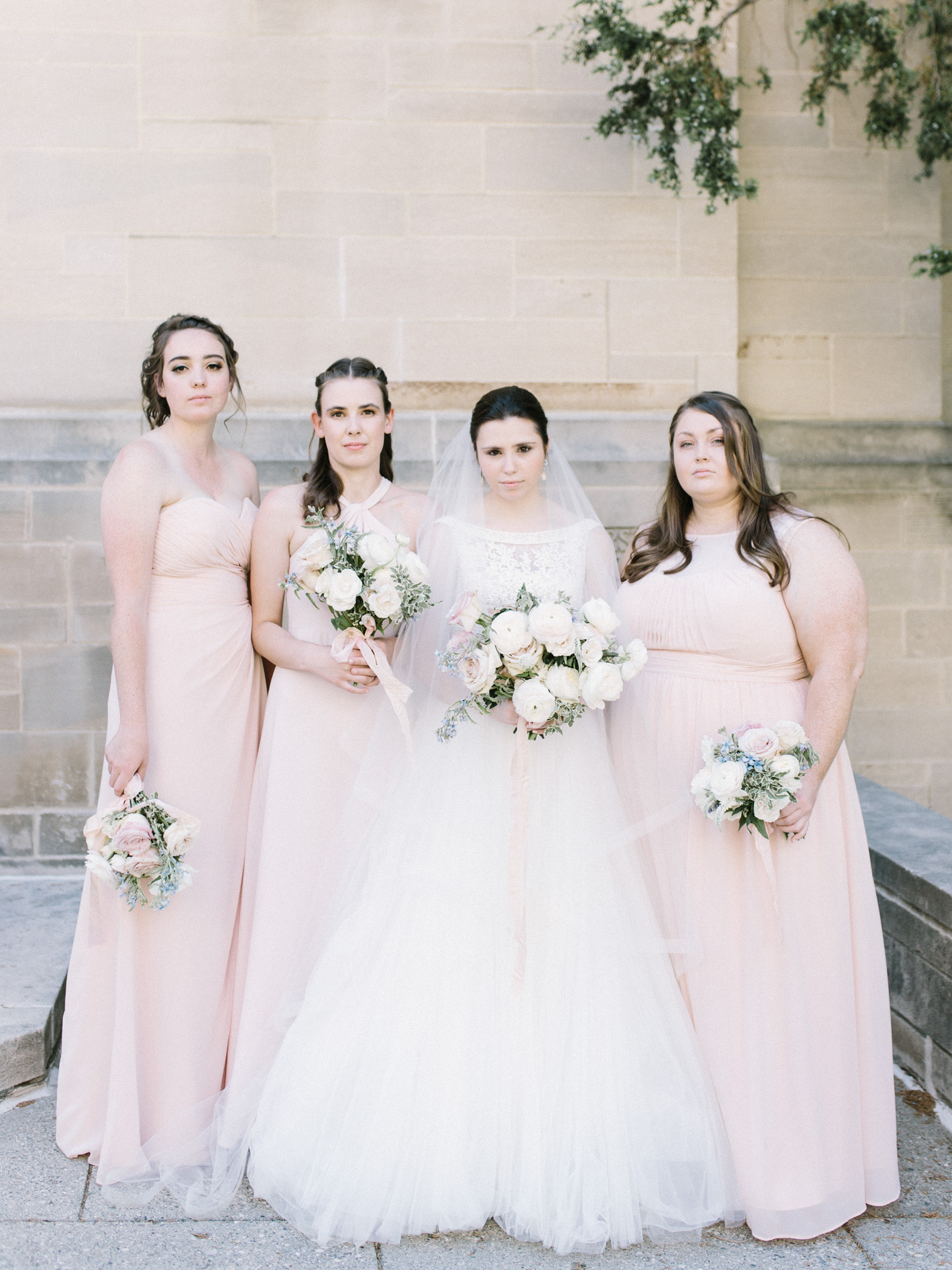 Bridesmaids in blush in Ann Arbor, Michigan