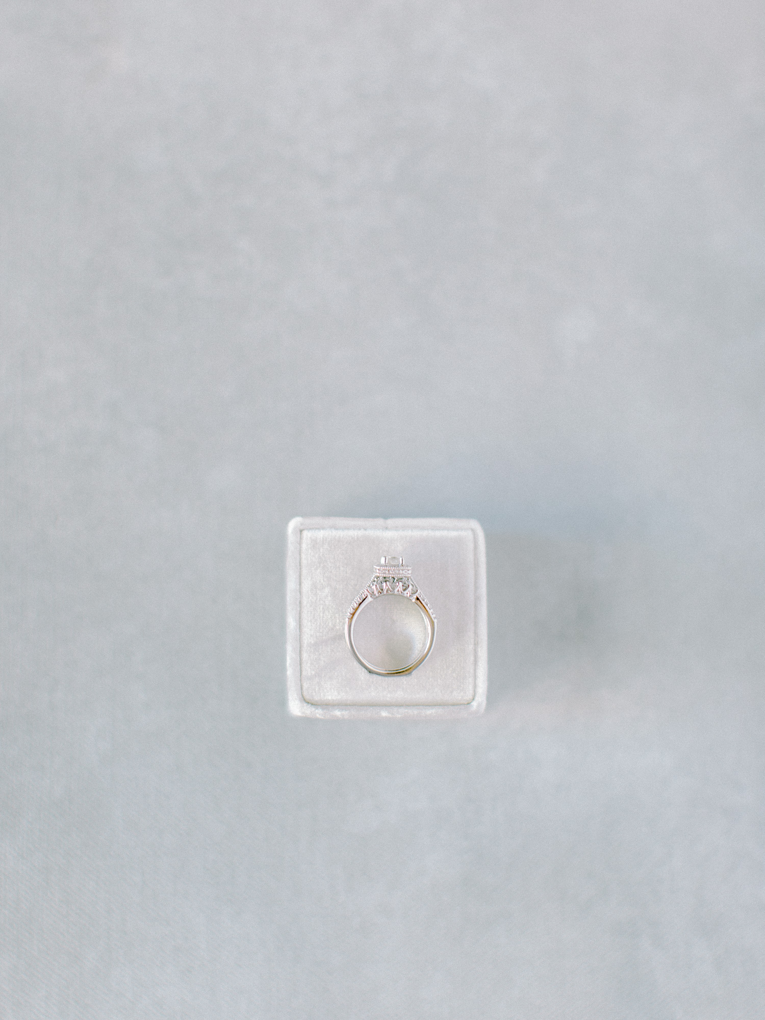 An ornate white gold and diamond wedding ring rests on a cream velvet box