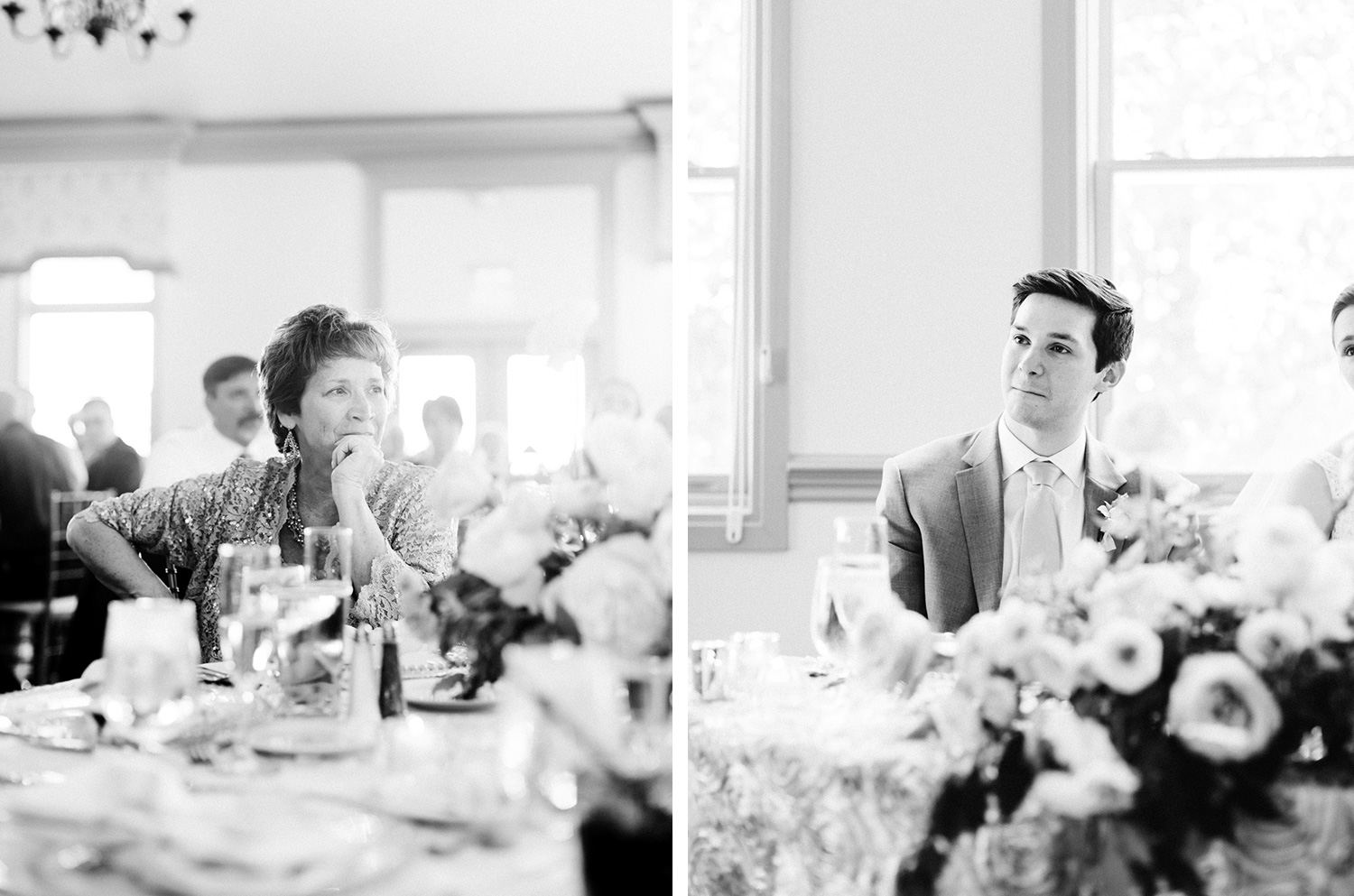 A groom tears up as his mother looks on during the toasts at a Polo Fields wedding reception in Ann Arbor