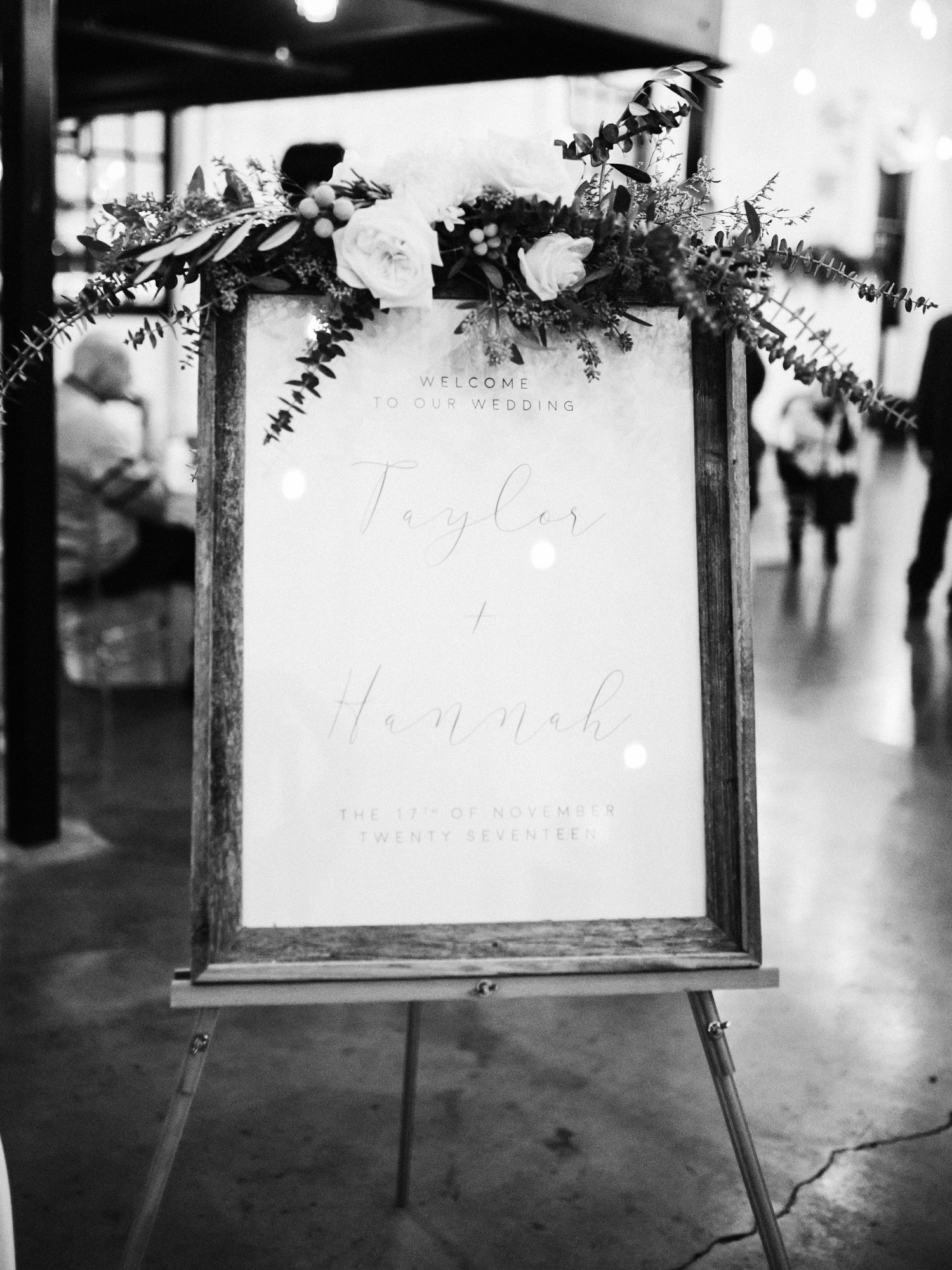 A welcome sign at The Brick wedding reception space in South Bend, Indiana