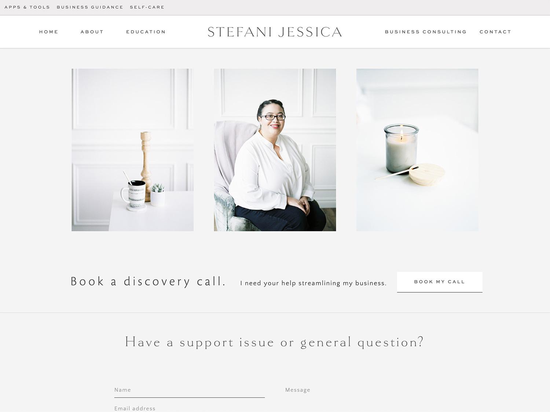 A screenshot image of Michigan film photographer Christina Harrison's photography for Stefani Jessica Studio's website