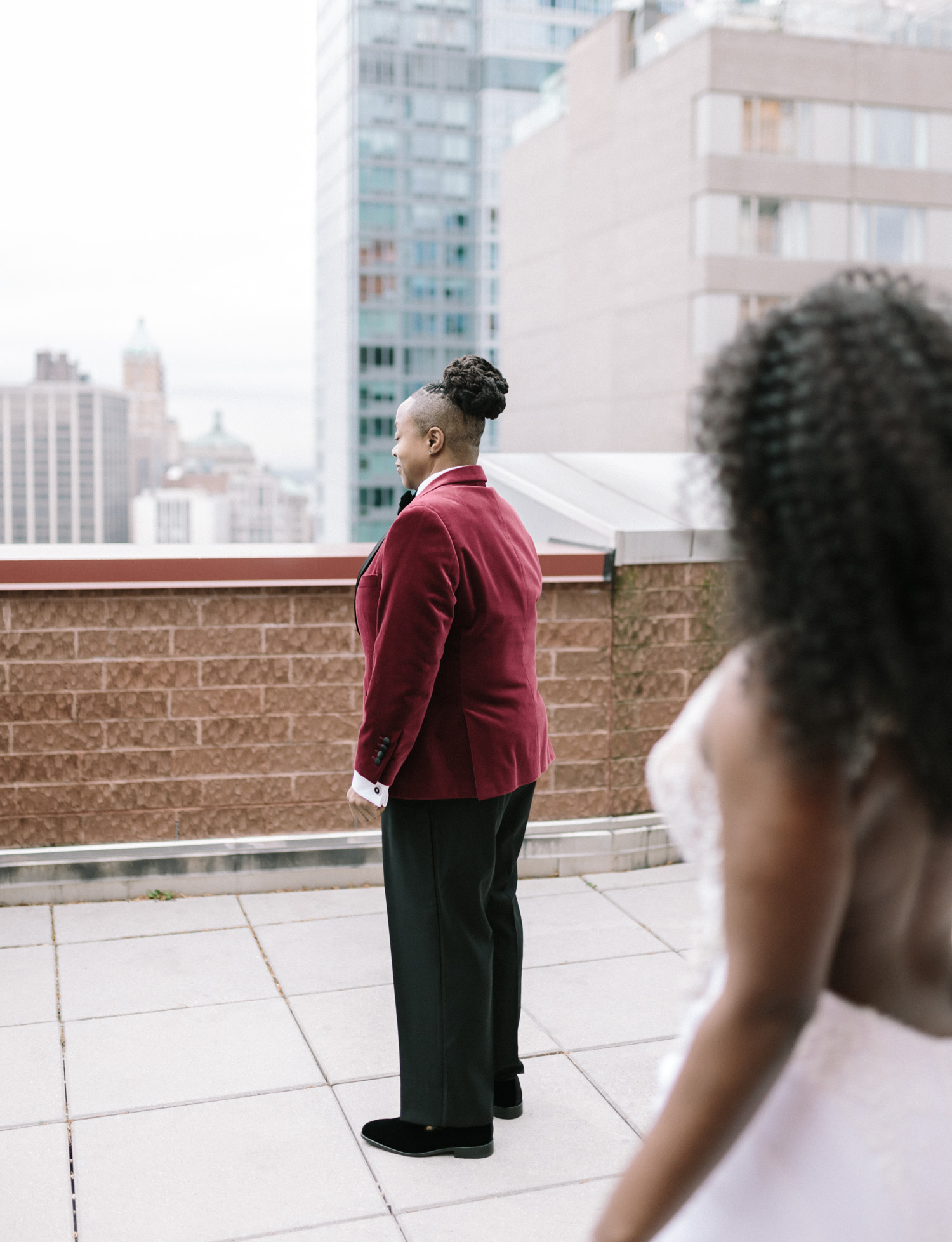 A black same sex couple just before their first look on their wedding day in Brooklyn, New York