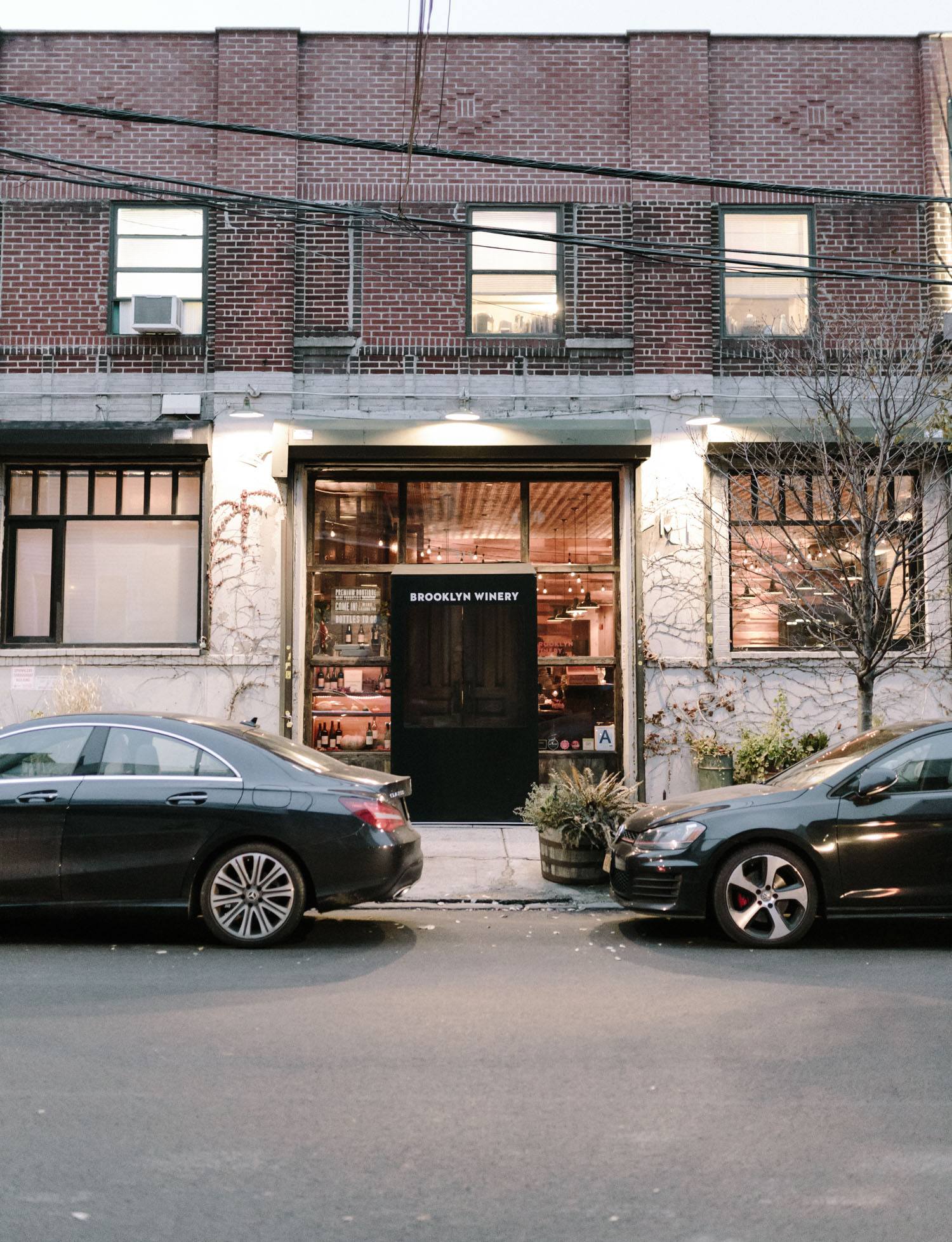The facade of Brooklyn Winery in winter, at twilight in New York City