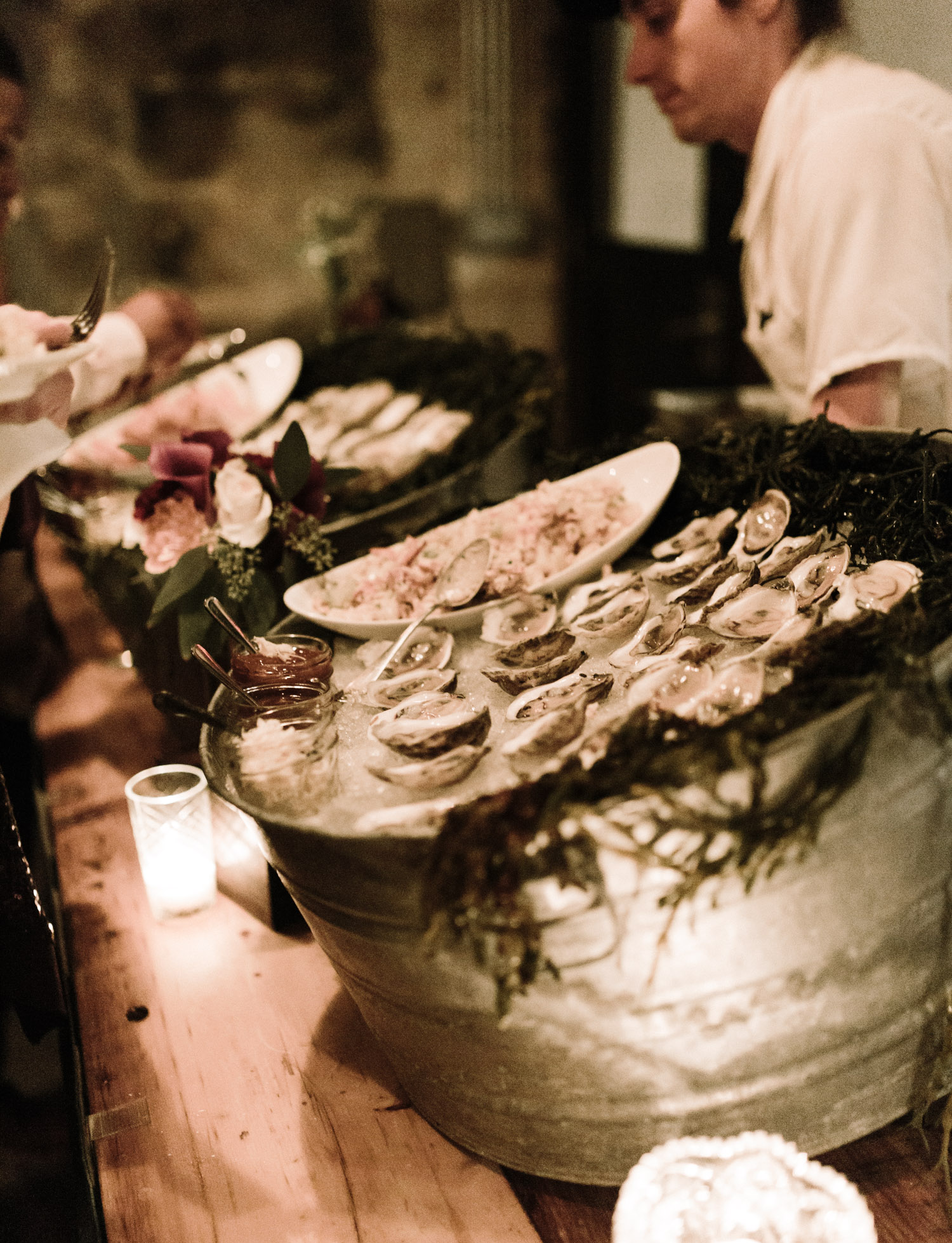 A seafood and oyster bar at a wedding reception at Brooklyn Winery