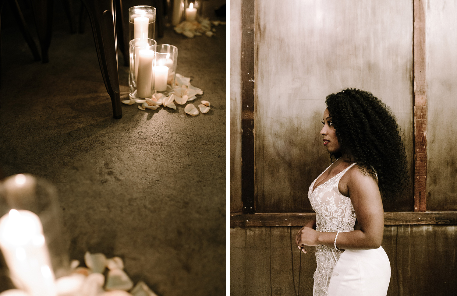 In two photos side by side, candles line a wedding ceremony aisle at Brooklyn Winery, and a side profile of a beautiful black bride is captured against an aged wall