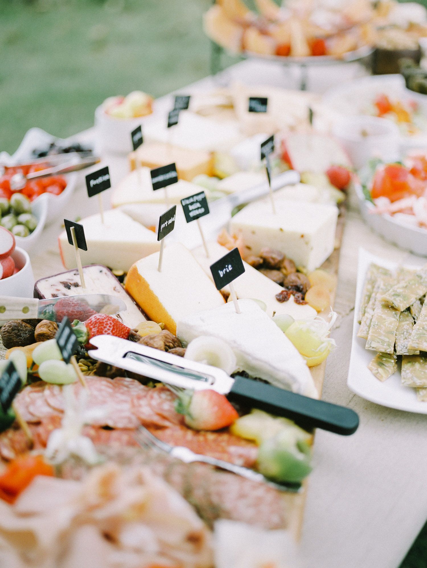 An array of brie and other delicious cheeses form a beautiful charcuterie table with fruit and crackers at an intimate Lake Michigan wedding celebration