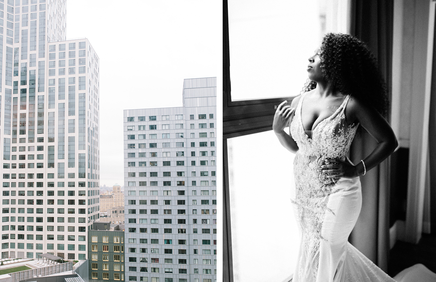 A black bride stands confidently, gazing out a Brooklyn, New York window on her same sex wedding day