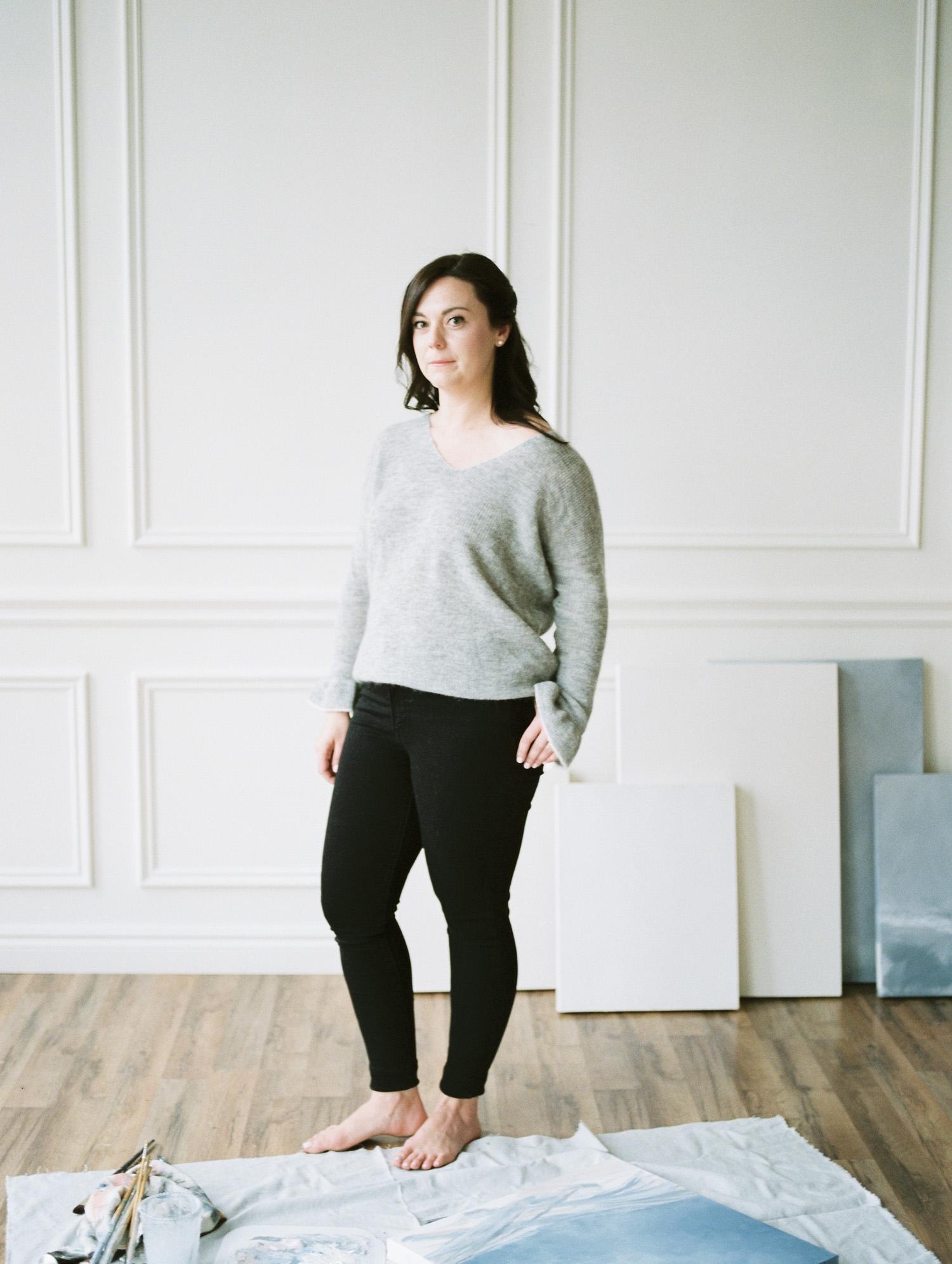 Artist Erin Braun captured on film in a Detroit, Michigan studio during her brand photoshoot