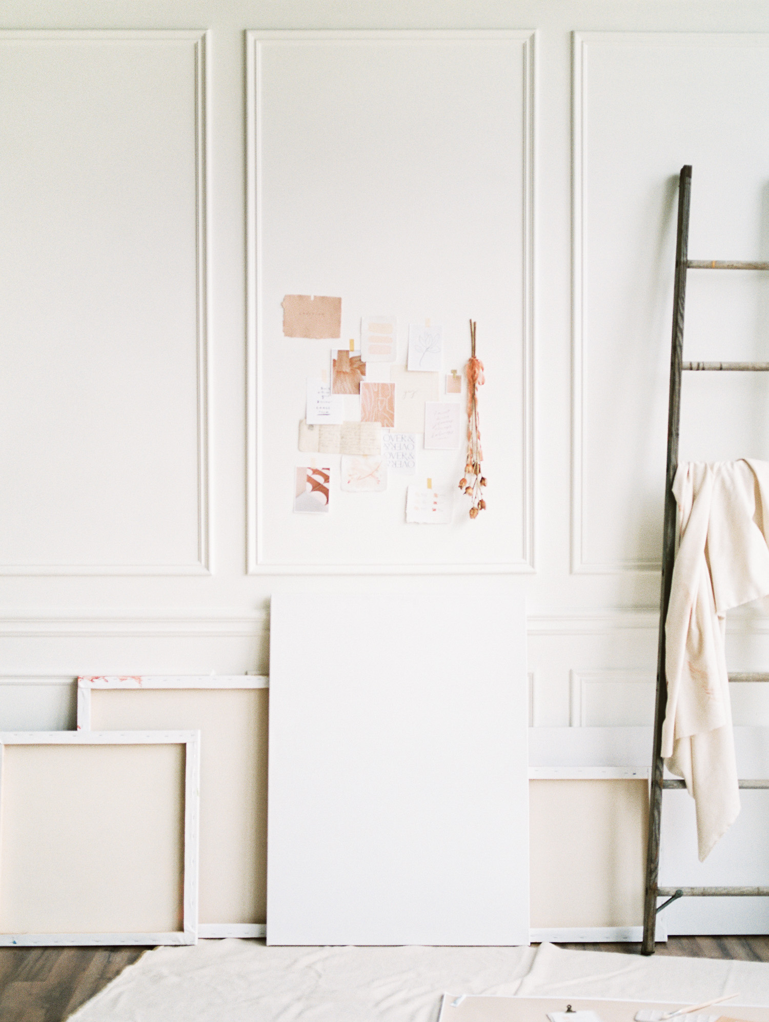 an artist studio space with a painter aesthetic created for a brand photoshoot in Detroit, Michigan