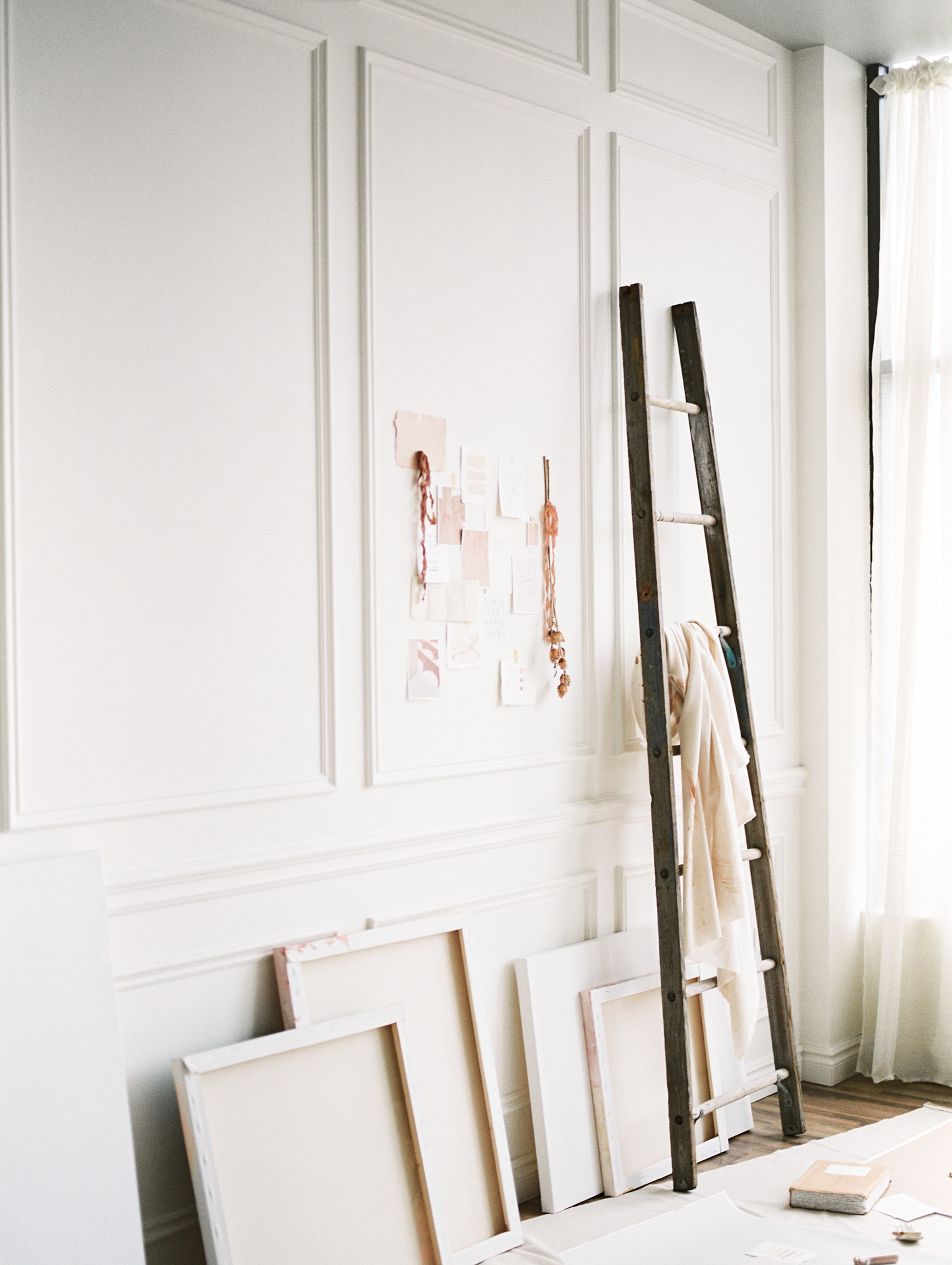 a painter aesthetic art studio space created for a brand photoshoot at Tribe Detroit in Michigan