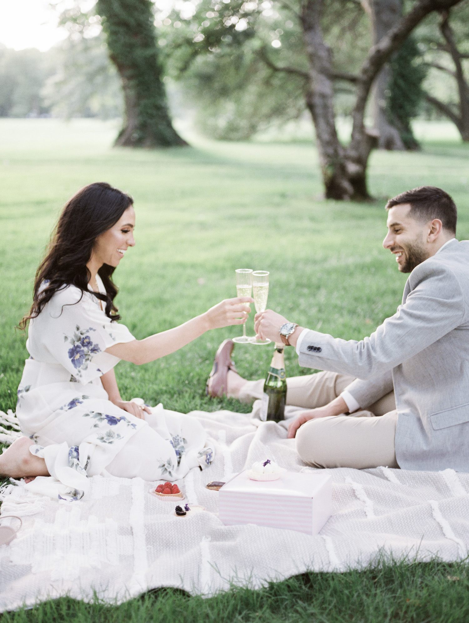 a couple toasts with champagne during their picnic engagement session at the Ford House in Detroit