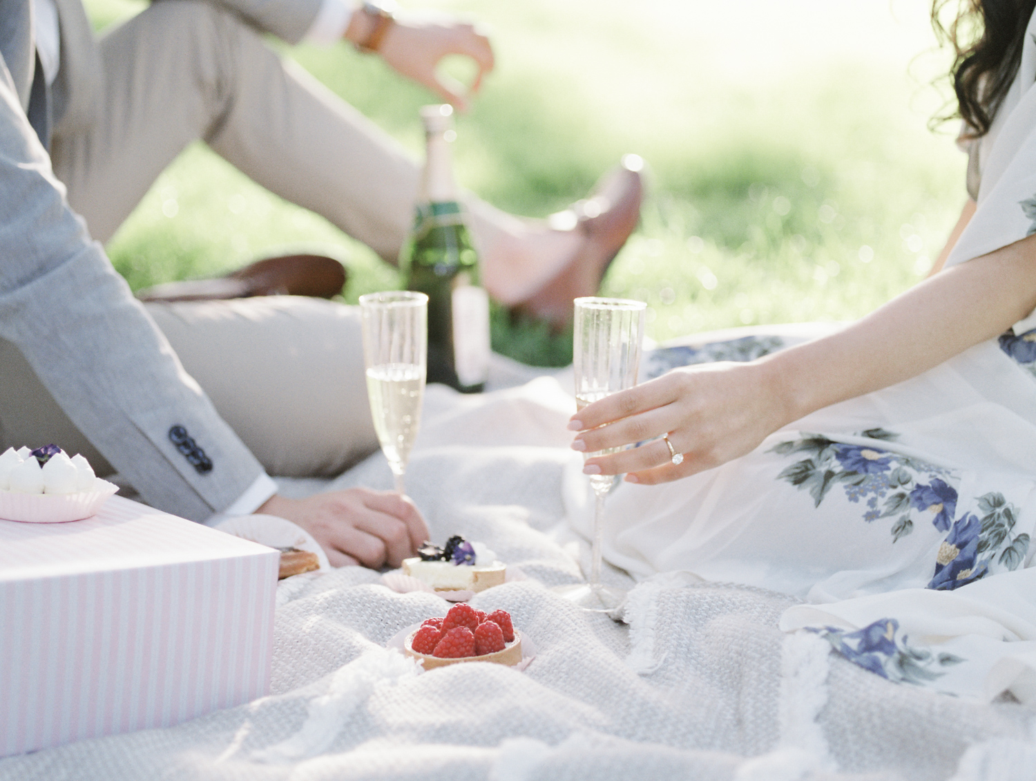 A couple holds champagne glasses and fruit tarts rest on a blanket during their picnic engagement photos on film in Michigan