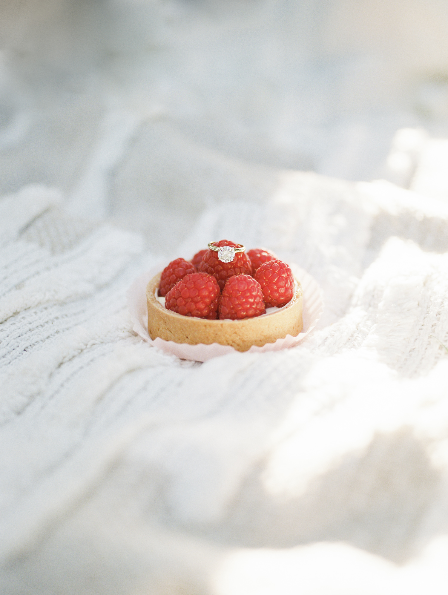 A round diamond solitaire engagement ring in yellow gold rests on a raspberry fruit tart during film engagement photos in Detroit, Michigan