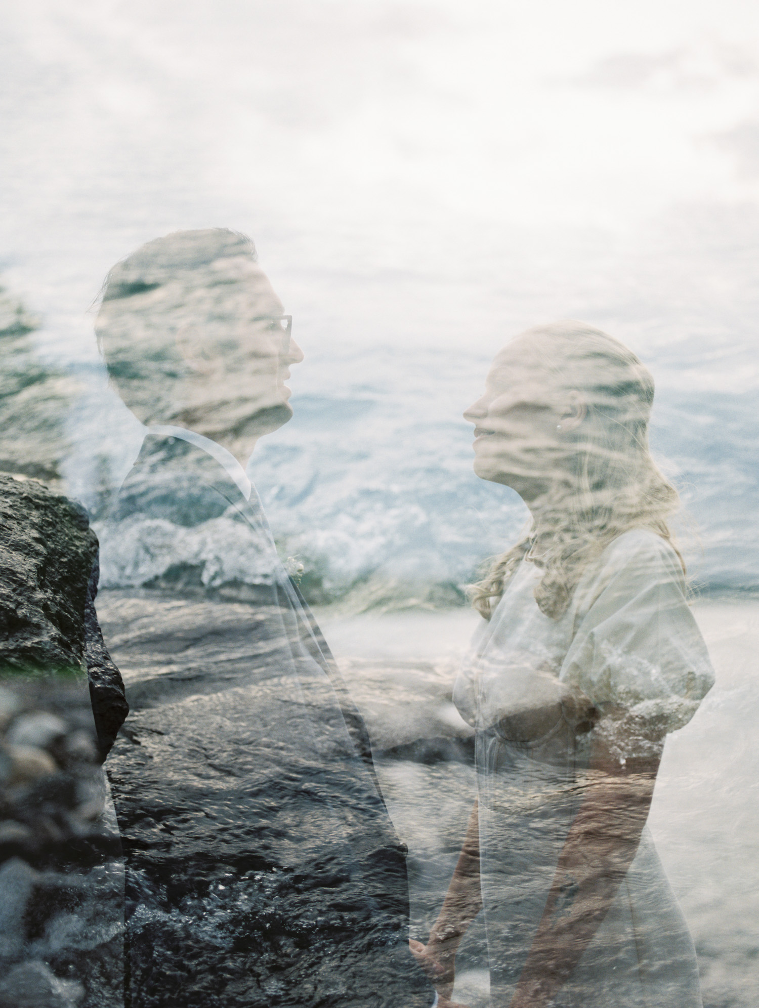 a film double exposure photo of a bride and groom with Lake Michigan