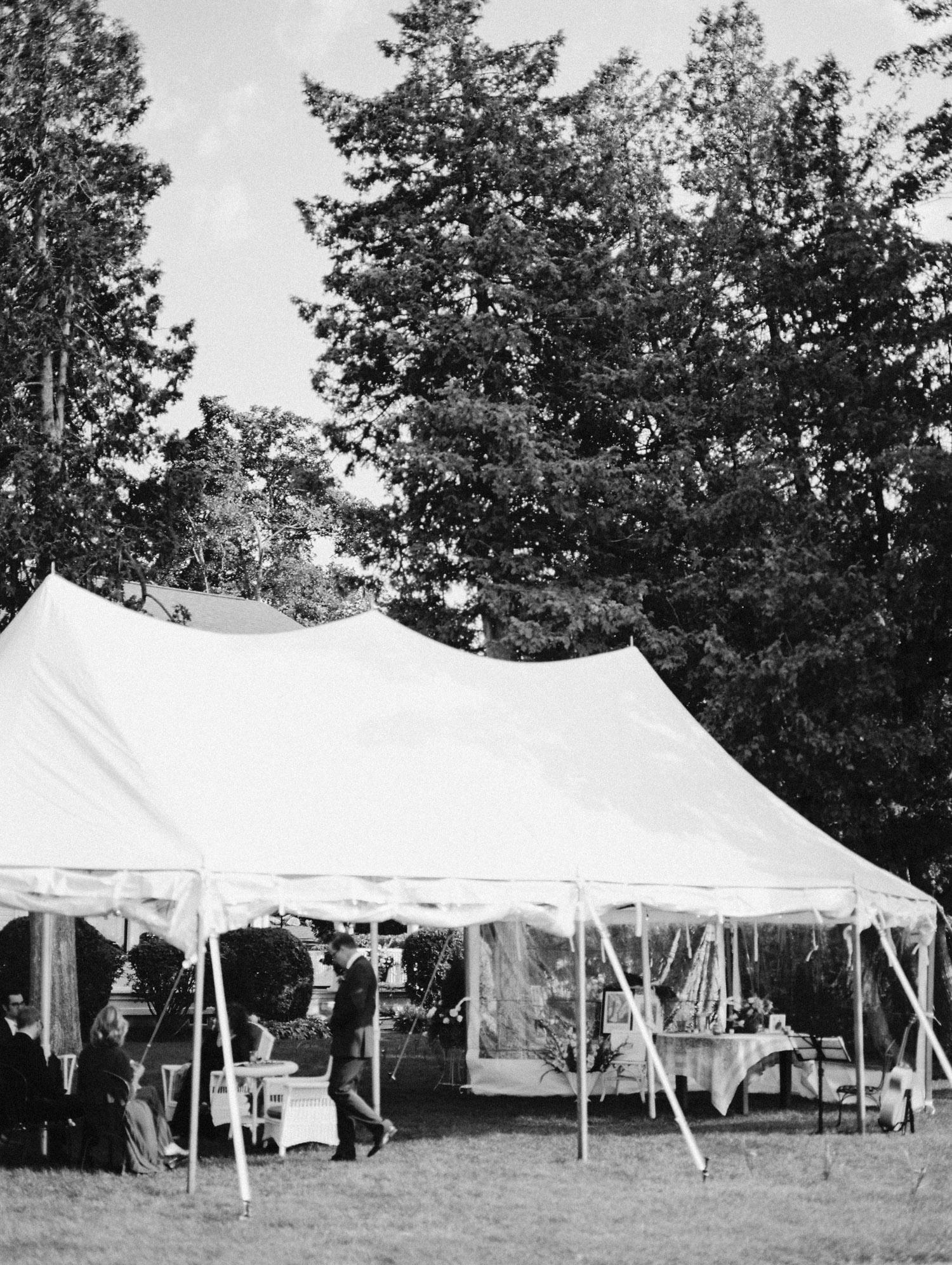 A sailcloth tent at a Petoskey, Michigan wedding