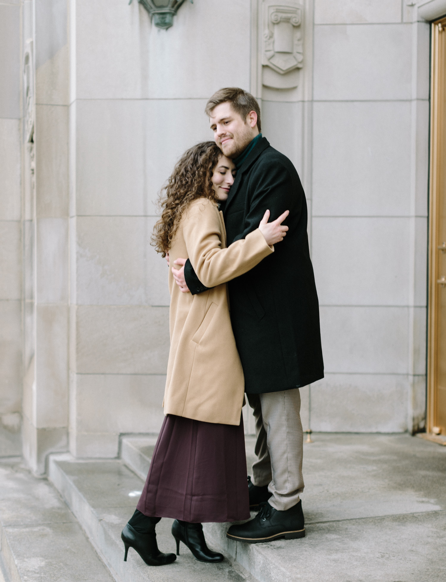 a couple embraces at the masonic temple in Detroit, Michigan